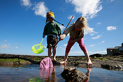 © Paul Thompson licensed to London News Pictures. 01/06/2015. Nicholas Tidswell-Thompson (4) and Frances Tidswell-Thompson (7) exploring rock pools on Amble Beach Northumberland. Photo credit : Paul Thompson/LNP