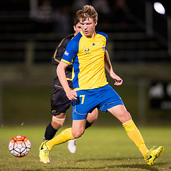 BRISBANE, AUSTRALIA - AUGUST 26: Michael Lee of the Strikers in action during the NPL Queensland Senior Men's Semi Final match between Brisbane Strikers and Moreton Bay Jets at Perry Park on August 26, 2017 in Brisbane, Australia. (Photo by Patrick Kearney)