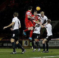 Nathan Clarke Leyton Orient's defender heads the ball - Photo mandatory by-line: Mitchell Gunn/JMP - Mobile: 07966 386802 - 18/02/2015 - SPORT - Football - London - Brisbane Road - Leyton Orient v Bradford City - Sky Bet League One