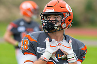 KELOWNA, BC - SEPTEMBER 22: Kelton Kouri #38 of Okanagan Sun stands on the field during warm up against the Valley Huskers at the Apple Bowl on September 22, 2019 in Kelowna, Canada. (Photo by Marissa Baecker/Shoot the Breeze)