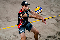 / in action during the second day of the beach volleyball event King of the Court at Jaarbeursplein on September 10, 2020 in Utrecht.