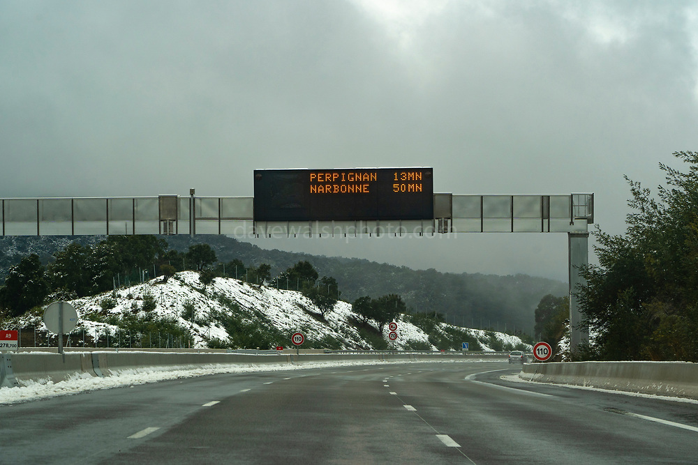 La Perthus: On the AP7/E15 Motorway between Spain and France, January 2021. When these photographs were taken, a huge build of thousands of heavy goods vehicles - trucks - was taking place in Catalonia. Most trucks were prohibited from moving due to severe winds and snow on this section of European route E15.