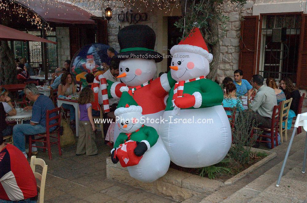 Christmas decorations Wadi Nisnas, Haifa, Israel during the Holiday of holidays festival, celebrating Hanuka-Christmas-Ramadan festival in the Haifa Neighbourhood of Wadi Nisnas