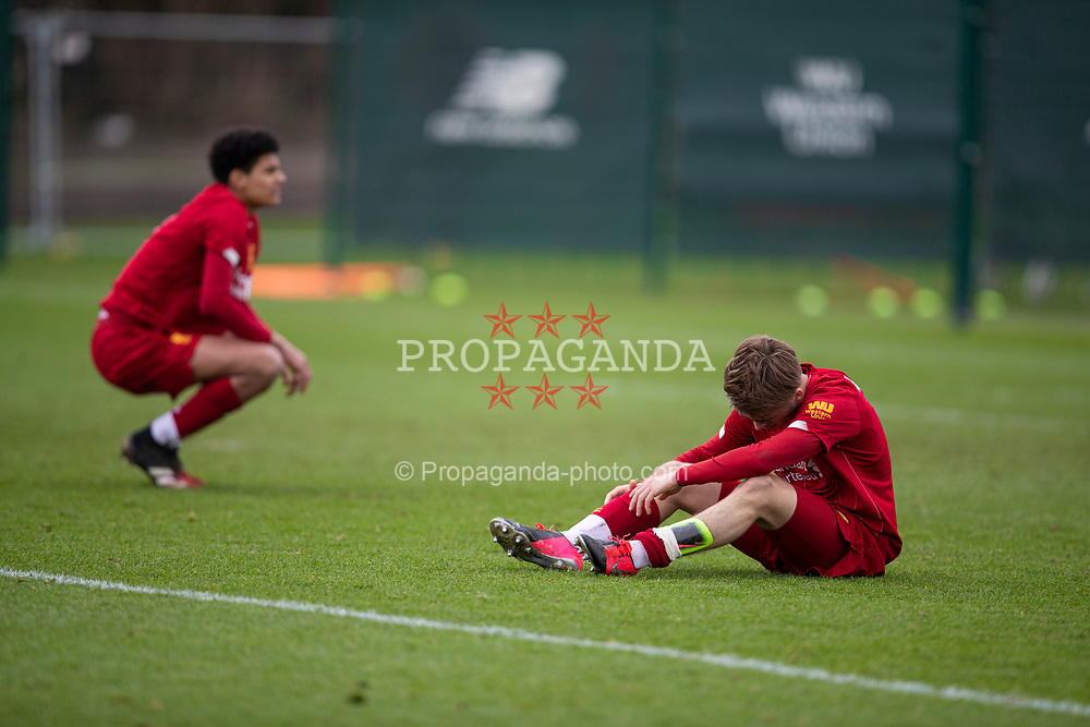 LIVERPOOL, ENGLAND - Saturday, February 22, 2020: Liverpool's Jarell Quansah (L) and James Norris look dejected after losing 4-2 during the Under-18 FA Premier League match between Liverpool FC and Manchester City FC at the Liverpool Academy. (Pic by David Rawcliffe/Propaganda)