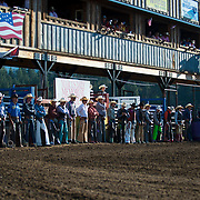 opening lineup at the Darby MT Elite Proffesionals Bull Riding Event July 7th 2017.  Photo by Josh Homer/Burning Ember Photography.  Photo credit must be given on all uses.
