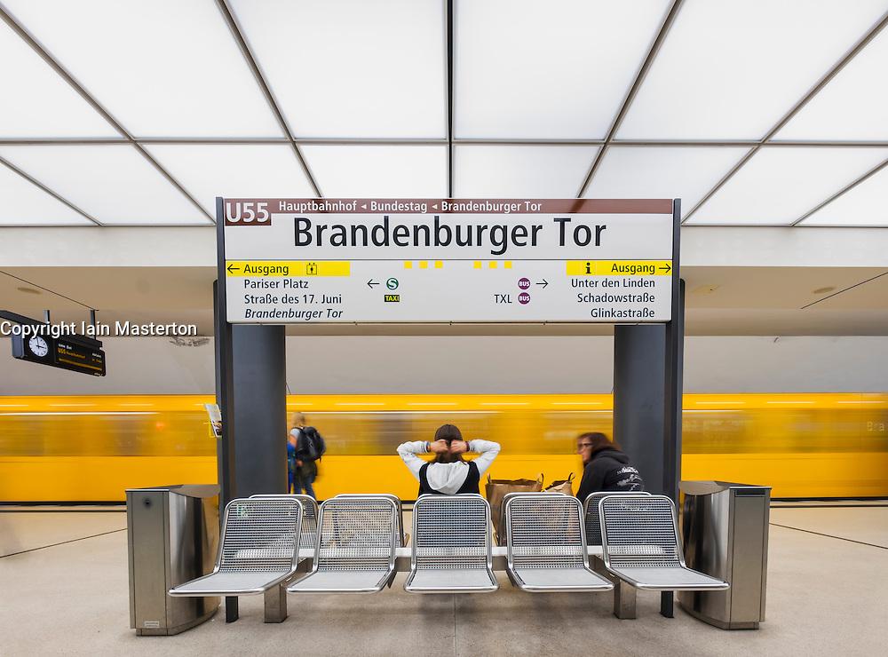 train at platform at Brandenburger Tor<br />  subway station in Berlin Germany