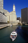 Image of the Chicago River along the Magnificent Mile, Chicago, Illinois, American Midwest by Randy Wells