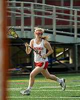 Laconia's Becca Howe in play against Campbell during NHIAA division III lacrosse Wednesday afternoon.  (Karen Bobotas/for the Laconia Daily Sun)