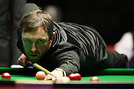 Andrew Higginson of England in action during his 1st round match against Judd Trump of England .  Coral Welsh Open Snooker 2017, day 2 at the Motorpoint Arena in Cardiff, South Wales on Tuesday 14th February 2017.<br /> pic by Andrew Orchard, Andrew Orchard sports photography.
