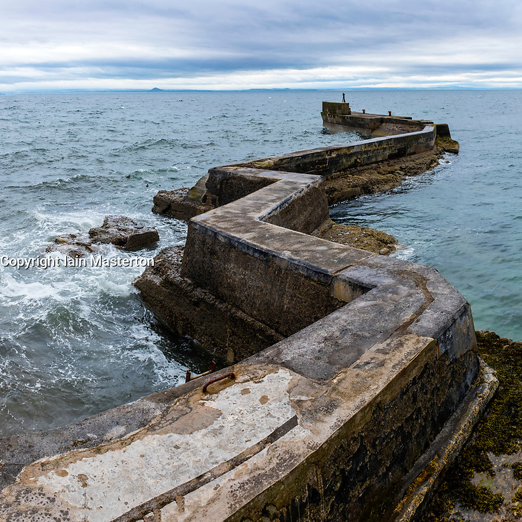 Zig Zag shaped breakwater at St Monans village  in East Neuk of Fife in Scotland, United Kingdom