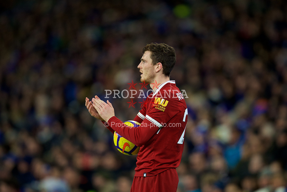 BRIGHTON AND HOVE, ENGLAND - Saturday, December 2, 2017: Liverpool's Andy Robertson during the FA Premier League match between Brighton & Hove Albion FC and Liverpool FC at the American Express Community Stadium. (Pic by David Rawcliffe/Propaganda)