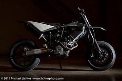 Max Hazan's second custom KTM. This 1000cc custom that is 150 pound lighter than stock was at the Handbuilt Show. Austin, TX. USA. Thursday April 19, 2018. Photography ©2018 Michael Lichter.