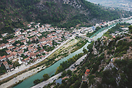 Berat, Albania - September 9, 2013: In July 2008, the old town (Mangalem district) of Berat was inscribed on the UNESCO World Heritage List.