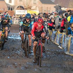 2019-12-27 Cycling: dvv verzekeringen trofee: Loenhout: Timo Ruegg leading a chasing group