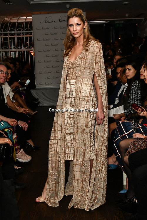 Nina Naustdal catwalk show SS19/20 collection by The London School of Beauty & Make-up at Bagatelle on 26 Feb 2019, London, UK.