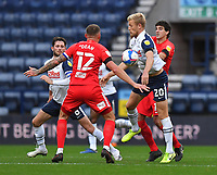 Preston North End's Jayden Stockley battles with Birmingham City's Mikel San Jose<br /> <br /> Photographer Dave Howarth/CameraSport<br /> <br /> The EFL Sky Bet Championship - Preston North End v Birmingham City - Saturday 31st October 2020 - Deepdale - Preston<br /> <br /> World Copyright © 2020 CameraSport. All rights reserved. 43 Linden Ave. Countesthorpe. Leicester. England. LE8 5PG - Tel: +44 (0) 116 277 4147 - admin@camerasport.com - www.camerasport.com