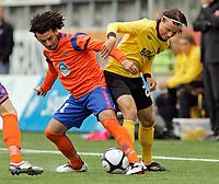 Fotball, <br /> Kvalifisering UEFA Europa League 28.07.2011  ,<br /> Aalesund v if elfsborg <br /> michael barrantes - aalesund<br /> niklas hult - if elfsborg<br /> <br /> Foto: Richard brevik , Digitalsport