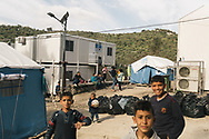 Asylum seekers, including many children live in the Moria refugee camp on the Greek island of Lesvos.