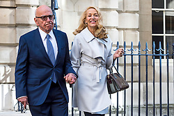 © Licensed to London News Pictures. 04/03/2016. London, UK.  Rupert Murdoch and Jerry Hall leave Spencer house in central London after getting married on February 04, 2016. The couple, who announced their engagement in January, had a private ceremony today, with a public service expected at Fleet Street's St Bride's Church on Saturday. Photo credit: Ben Cawthra/LNP