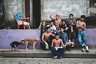 Masaya, Nicaragua - November 12, 2008: A group of young people pose for a photo outside a home in Masaya, Nicaragua.