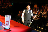 Stuart Bingham of England walks out past the trophy ahead of the match.  Coral Welsh Open Snooker 2017, final match, Judd Trump of England v Stuart Bingham of England at the Motorpoint Arena in Cardiff, South Wales on Sunday 19th February 2017.<br /> pic by Andrew Orchard, Andrew Orchard sports photography.