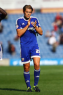James Tarkowski of Brentford applauds the supporters after the game. Skybet football league championship match, Burnley  v Brentford at Turf Moor in Burnley, Lancs on Saturday 22nd August 2015.<br /> pic by Chris Stading, Andrew Orchard sports photography.