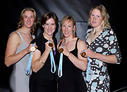 Lords, London, British International Rowing Team Dinner, GBR Women's Quadruple scull, left to right,  Sarah WINCKLESS, Katherine GRAINGER, Debbie FLOOD and Frances HOUGHTON, presented with their Gold medal, after the Bow of the Russian womens Quad. tested positive, announced by FISA. 03.02.2007,[Mandatory Credit, Peter Spurrier/ Intersport Images]