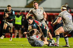 Matt Scott of Leicester Tigers is tackled by Will Cliff of Sale Sharks  - Mandatory by-line: Nick Browning/JMP - 29/01/2021 - RUGBY - Mattioli Woods Welford Road - Leicester, England - Leicester Tigers v Sale Sharks - Gallagher Premiership Rugby
