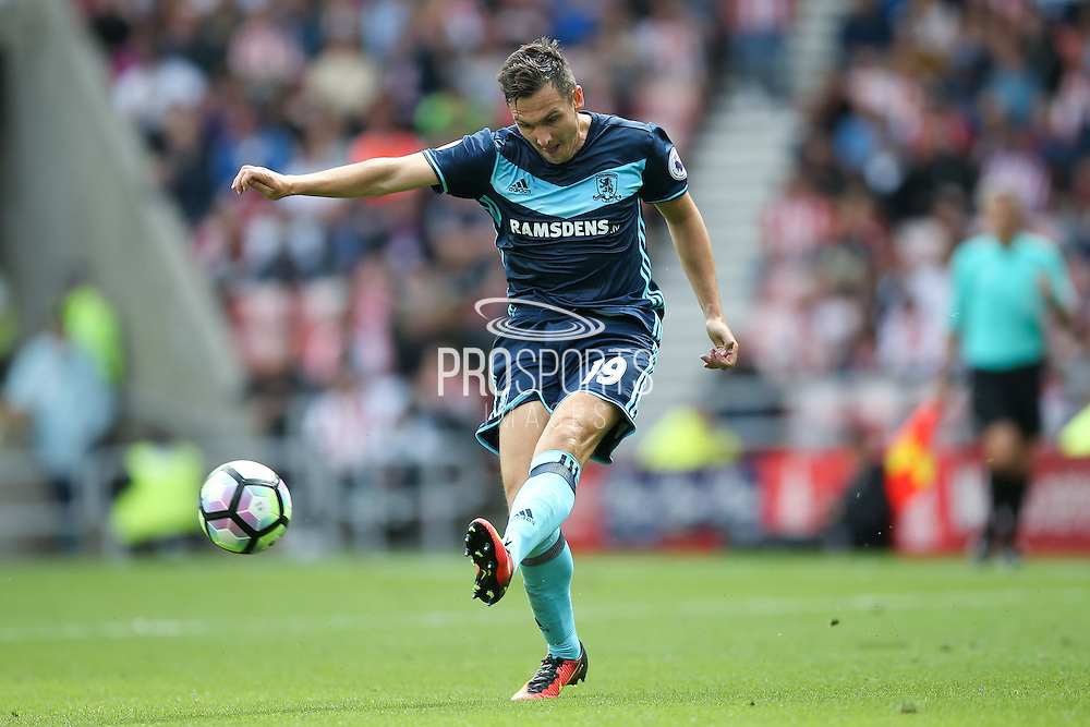 Middlesbrough midfielder Stewart Downing (19) with a cross during the Premier League match between Sunderland and Middlesbrough at the Stadium Of Light, Sunderland, England on 21 August 2016. Photo by Simon Davies.
