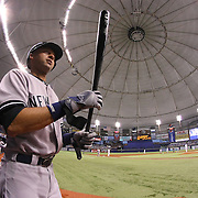New York Yankees shortstop Derek Jeter (2) walks to the on deck circle during a major league baseball game between the New York Yankees and the Tampa Bay Rays at Tropicana Field on Thursday, Sept. 17, 2014 in St. Petersburg, Florida. The Yankees won the game 3-2 and this was Jeter's last game against Tampa Bay. (AP Photo/Alex Menendez)
