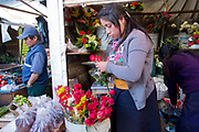 Food market and traders selling their wares and goods on display, roses, San Cristobal de las Casas, Chiapas, Mexico.
