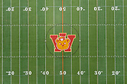 A general view of the Wilson Bruins logo on the football field on the campus of Long Beach Wilson High School, Wednesday, July 8, 2020, in Long Beach, Calif.