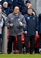 Photo: Jed Wee.<br />Wigan Athletic v Liverpool. The Barclays Premiership. 11/02/2006.<br />Liverpool manager Rafael Benitez (L) with Wigan manager Paul Jewell.