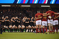 The All Blacks perform their Haka. Rugby World Cup 2015 quarter-final match, New Zealand v France at the Millennium Stadium in Cardiff, South Wales  on Saturday 17th October 2015.<br /> pic by  Andrew Orchard, Andrew Orchard sports photography.