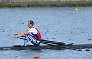 Reading. United Kingdom.  GBR LM1X, Peter CHAMBERS, in the opening strokes of the morning time trial. 2014 Senior GB Rowing Trails, Redgrave and Pinsent Rowing Lake. Caversham.<br /> <br /> 10:09:33  Saturday  19/04/2014<br /> <br />  [Mandatory Credit: Peter Spurrier/Intersport<br /> Images]