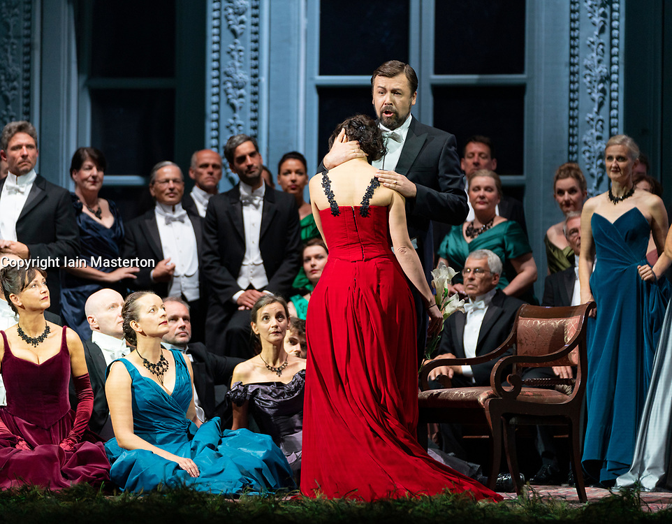 Edinburgh, Scotland, UK. 14 August 2019. Preview performance of Tchaikovsky's opera Eugene Onegin by the Komische Oper Berlin in the Festival Theatre as part of the Edinburgh International Festival. <br /> Komische Oper Berlin return to the International Festival for Tchaikovsky's best-loved opera, based on Alexander Pushkin's classic verse novel. Tchaikovsky's heart-breaking love story uses the author's poetry to create lyrical scenes that contrast the austerities of country life with the excesses and opulence of the Russian imperial court. Iain Masterton/Alamy Live News ++ Editorial Use Only ++