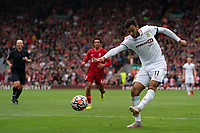 Football - 2021 / 2022 Premier League - Liverpool vs Burnley - Anfield - Saturday 21st August 2021<br /> <br /> <br /> Burnley's Dwight McNeil crosses the ball