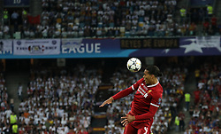 May 26, 2018 - Kiev, Ukraine - Liverpool's Virgil Van Dijk controls the ball during the final match of the Champions League between Real Madrid and Liverpool at the Olympic Stadium in Kiev. Ukraine, Saturday, May 26, 2018  (Credit Image: © Danil Shamkin/NurPhoto via ZUMA Press)