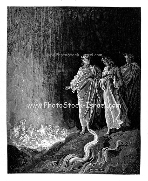 """Purgatorio (""""Purgatory"""") is the second part of Dante's Divine Comedy, following the Inferno, and preceding the Paradiso. The poem was written in the early 14th century. It is an allegory telling of the climb of Dante up the Mount of Purgatory, guided by the Roman poet Virgil, except for the last four cantos at which point Beatrice takes over as Dante's guide. Purgatory in the poem is depicted as a mountain in the Southern Hemisphere, consisting of a bottom section (Ante-Purgatory), seven levels of suffering and spiritual growth (associated with the seven deadly sins), and finally the Earthly Paradise at the top. Allegorically, the Purgatorio represents the penitent Christian life. In describing the climb Dante discusses the nature of sin, examples of vice and virtue, as well as moral issues in politics and in the Church. The poem outlines a theory that all sins arise from love – either perverted love directed towards others' harm, or deficient love, or the disordered or excessive love of good things. From the Divine Comedy by 14th century Italian poet Dante Alighieri. 1860 artwork, by French artist Gustave Dore and engraved by Stephane Pannemaker, (1868), Cary's English translation of the work. Dante wrote his epic poem 'Divina Commedia' (The Divine Comedy) between 1308 and his death in 1321. Consisting of 14,233 lines, and divided into three parts (Inferno, Purgatorio, and Paradiso), it is considered the greatest literary work in the Italian language and a world masterpiece. It is a comprehensive survey of medieval theology, literature and thought. The new non-dialect poetic language Dante created became the basis of modern Italian."""
