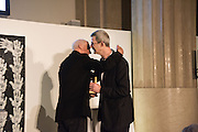 RICHARD LONG and EDMUND DE WAAL at the Whitechapel Gallery Art Icon 2015 Gala dinner supported by the Swarovski Foundation. The Banking Hall, Cornhill, London. 19 March 2015