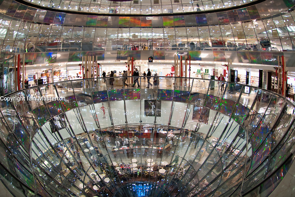 Interior view of spectacular glass walled atrium of Galleries Lafayette on Friedrichstrasse in Mitte Berlin Germany