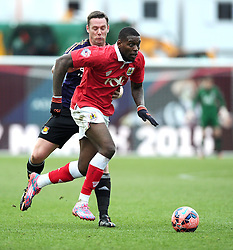 Bristol City's Jay Emmanuel-Thomas battles for the ball with West Ham's Kevin Nolan  - Photo mandatory by-line: Joe Meredith/JMP - Mobile: 07966 386802 - 25/01/2015 - SPORT - Football - Bristol - Ashton Gate - Bristol City v West Ham United - FA Cup Fourth Round