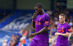 BIRKENHEAD, ENGLAND - Tuesday, July 10, 2018: Liverpool's Sheyi Ojo celebrates scoring the second goal during a preseason friendly match between Tranmere Rovers FC and Liverpool FC at Prenton Park. (Pic by Paul Greenwood/Propaganda)