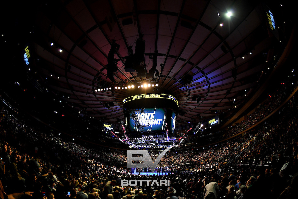 NEW YORK, NY - NOVEMBER 12:  A general view of Madison Square Garden during the women's bantamweight bout between Raquel Pennington of the United States and Miesha Tate of the United States during the UFC 205 event at Madison Square Garden on November 12, 2016 in New York City.  (Photo by Jeff Bottari/Zuffa LLC/Zuffa LLC via Getty Images)