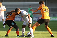 Simeon Akinola (L) & Dan Sweeney of Barnet (R) tackle Wayne Routledge of Swansea city ©. Pre-season friendly match, Barnet v Swansea city at the Hive in London on Wednesday 12th July 2017.<br /> pic by Steffan Bowen, Andrew Orchard sports photography.