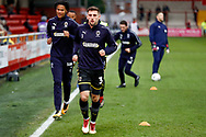 Wimbledon defender Ben Purrington (3), on loan from Rotherham United, warming up  during the The FA Cup 3rd round match between Fleetwood Town and AFC Wimbledon at the Highbury Stadium, Fleetwood, England on 5 January 2019.