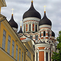 Europe, Estonia,Tallinn. Approaching the Alexander Nevsky Cathedral in the Toompea of Tallinn, a UNESCO World Heritage Site.