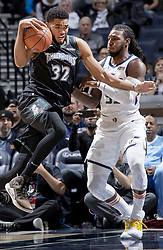October 31, 2018 - Minneapolis, MN, USA - Karl-Anthony Towns (32) was defended by Jae Crowder (99) in the first quarter. .... .... ] CARLOS GONZALEZ • cgonzalez@startribune.com – Minneapolis, MN - October 31, 2018, Target Center, NBA, Minnesota Timberwolves vs. Utah Jazz (Credit Image: © Carlos Gonzalez/Minneapolis Star Tribune via ZUMA Wire)