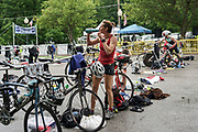Jessica Nash during the T1 swin to  bike transition in the 2018 Hague Endurance Festival Olympic Triathlon