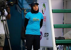 February 19, 2019 - Dubai, ARAB EMIRATES - Ball Kid at the 2019 Dubai Duty Free Tennis Championships WTA Premier 5 tennis tournament (Credit Image: © AFP7 via ZUMA Wire)